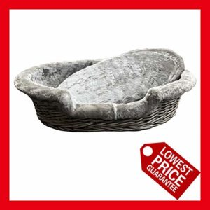 "handmade luxury oval wicker pet basket with fur lined inner and cushion, cat basket, grey&dark uk2172 EASYPET Luxury Oval Wicker Pet Basket with Fur Lined Inner and Cushion, 8 (18"") Handmade Luxury Oval Wicker Pet Basket with Fur Lined Inner and Cushion cat basket GreyDark UK2172 0 300x300"