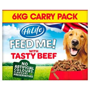 hilife feed me! dog food HiLife FEED ME! – Complete Dry Dog Food – Tasty Beef Cheese Vegetables – Soft, Moist & Meaty, 6kg HiLife Feed Me Dog Food 0 300x300