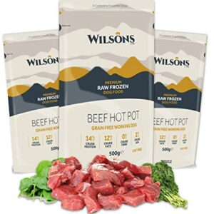 wilsons premium raw frozen dog food - at least 85% human grade meat - 500g WILSONS Beef Hot Pot Complete Frozen Dog Food – Grain Free and 100% Natural – Box of 24 x 500g Eco-friendly trays WILSONS Premium Raw Frozen Dog Food At Least 85 Human Grade Meat 500g 0 300x300
