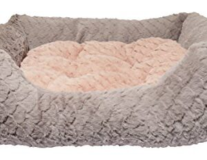 rosewood luxury square dog bed, small, grey/pink Small dog bed for dogs, cats, kittens and puppies ,machine washable, super soft and cosy plush dog bed, grey and pink… Rosewood Fabric Reversible Cushion Square Plush Dog Bed 0 300x232