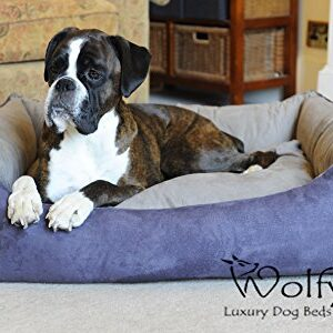 wolfybeds faux suede dog bed Wolfybeds Luxury Faux Suede Dog Bed Slate 2-tone (Large) Wolfybeds Faux Suede Dog Bed 0 300x300