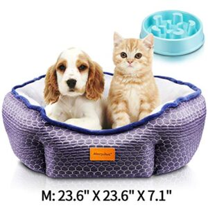 morpilot pet bed for cats and small medium dogs, comfortable puppy dog bed with round detachable soft cushion for two sides use and machine washable, gift slow eating bowl (medium: 60 * 60 * 18cm) morpilot Pet Bed for Cats and Small Medium Dogs, Comfortable Puppy Dog Bed with Round Detachable Soft Cushion for Two… morpilot Pet Bed for Cats and Small Medium Dogs Comfortable Puppy Dog Bed with Round Detachable Soft Cushion for Two Sides Use and Machine Washable Gift Slow Eating Bowl Medium 60 60 18cm 0 300x300